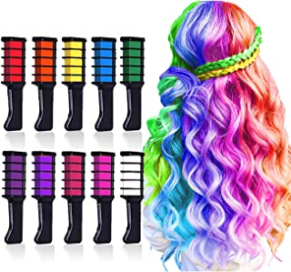 10 Colors Hair Chalk for Girls,Kids Temporary Bright Hair Color,Hair Chalk Comb Birthday Gift for Girls Of Ages 4 5 6 7 8 9 10+ Washable Color for Kids Hair Dyeing Christmas Cosplay Parties