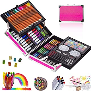 KINSPORY 137 PCS Portable Inspiration & Creativity Coloring Art Set Deluxe Painting & Drawing Supplies with Aluminum Alloy...
