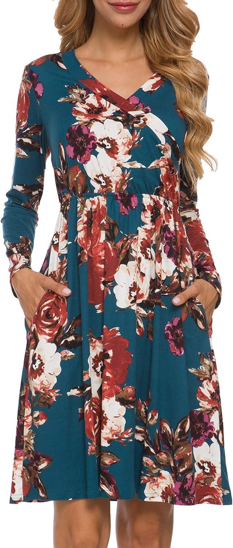 LAINAB Women's Floral Fall Long Sleeve Pockets Casual Tunic T Shirt Wrap Dress