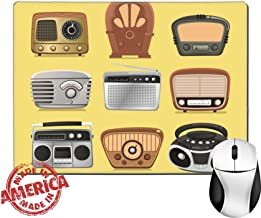 Luxlady Natural Rubber Mouse Pad/Mat with Stitched Edges 9.8 x 7.9 Retro revival radios hi fi tuner broadcasting system vector illustration IMAGE 33983459