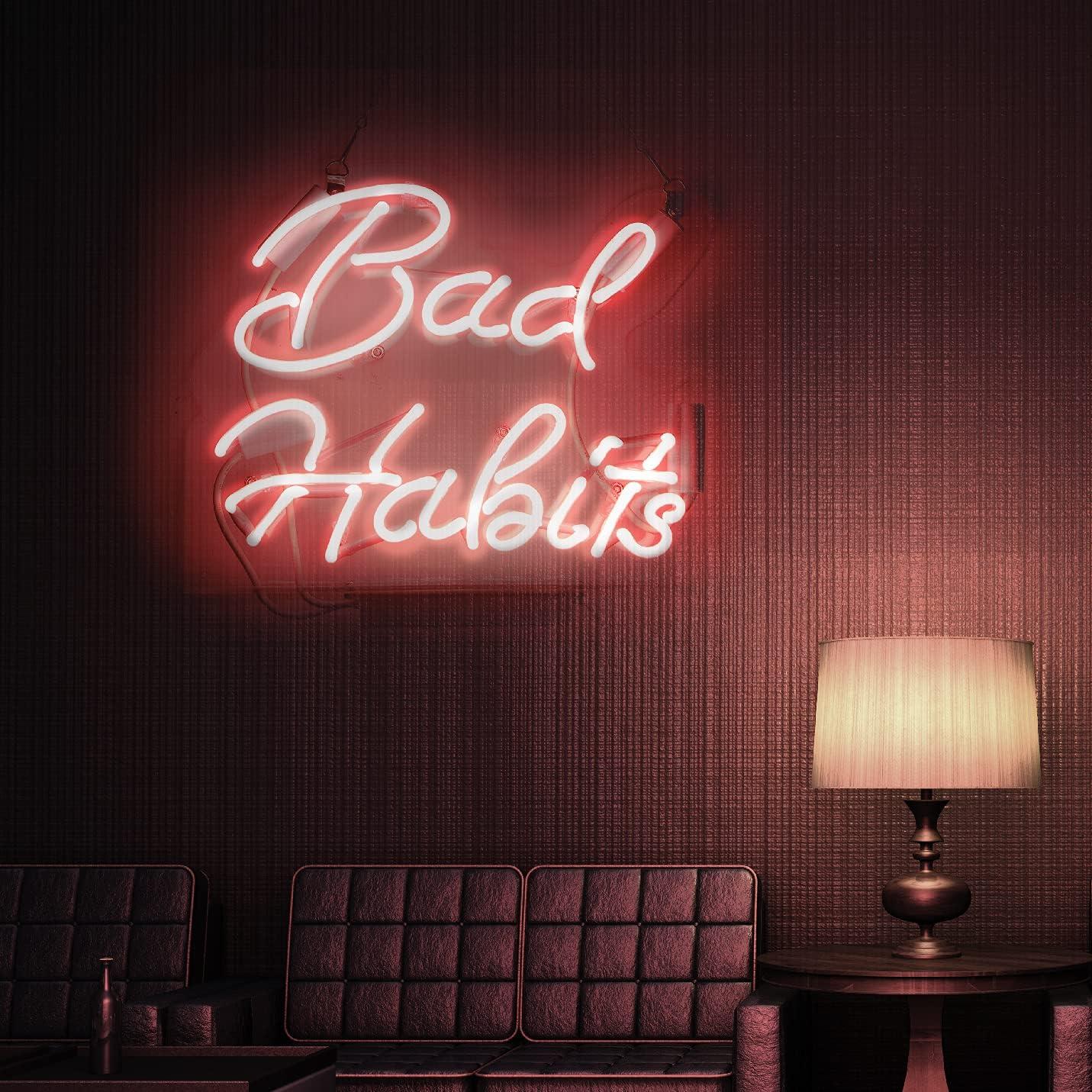 Neon Signs Bad Habits Popular popular Pink Sign Hanging Light N Bombing free shipping