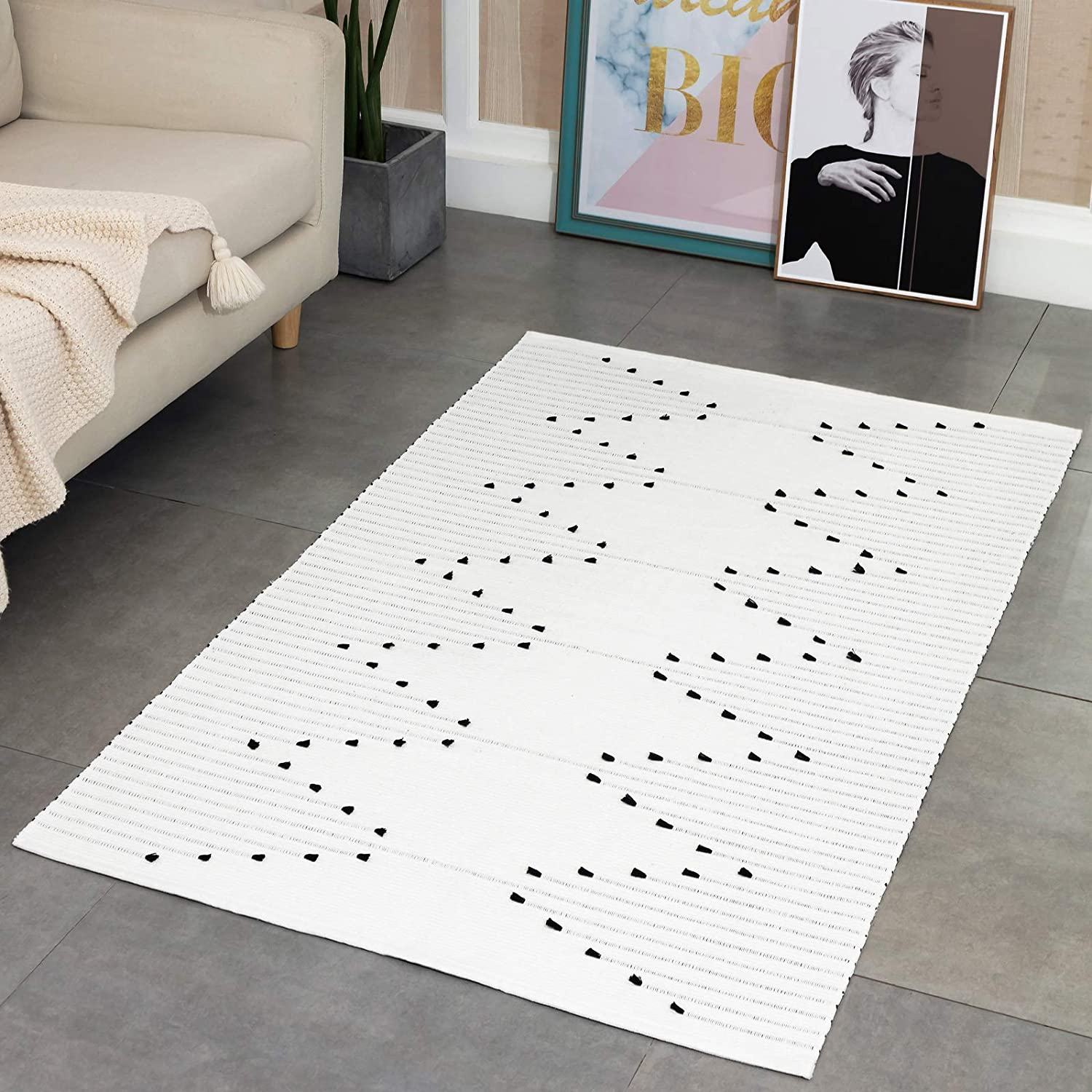 Off White Moroccan Boho Bathroom Rug, Cotton Woven Small Hallway Bath Mats,  Flatweave Washable Long Rugs for Front Door Kitchen, Natrural Carpet 20'x20
