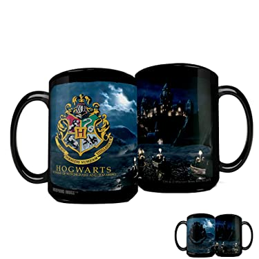Morphing Mugs Harry Potter – Hogwarts School for Witchcraft and Wizardry – Crest – 16 oz Large Ceramic Heat Sensitive Clue Mug – Full Image Revealed When HOT Liquid is Added