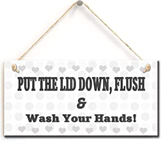 Rustic Toilet Warning Sign- Put The Lid Down, Flush & Wash Your Hands, Retro Style Bathroom Toilet Sign (5