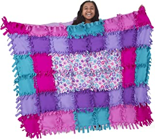 Melissa & Doug Created by Me! Flower Fleece Quilt (No-Sew Fleece Quilt, Soft Material, 48-Pieces, 5′W × 4′L, Great Gift for Girls and Boys - Best for 6, 7, 8 Year Olds and Up)