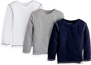 Burt's Bees Baby - Baby Boys' T-Shirts, Set of 3 Organic Short Long Sleeve V-Neck Tees