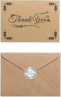 MAGJUCHE Rustic Thank You Folded Note Cards with Kraft Envelopes and Stickers, 32 Cards