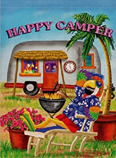 Dyrenson Decorative Outdoor Happy Camper Quote Garden Flag Double Sided, Flower Geraniums House Yard Flag, Funny Parrot Garden Yard Decorations, Home Novelty Camping Seasonal Outdoor Flag 12 x 18