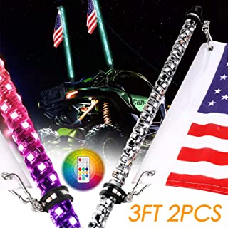 Nirider 2PCS 3ft LED Whip Lights with Flag Pole Remote Control Spiral RGB Chase Light Offroad Warning Lighted Antenna LED Whips for UTV, ATV, Off Road, Truck, Sand, Buggy Dune, RZR, Can-am, Boat