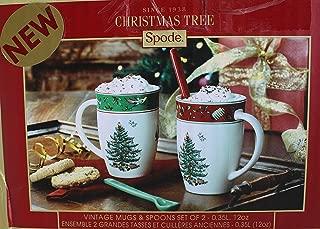 Spode Christmas Tree Vintage Mugs & Spoons Set of 2 - 12oz