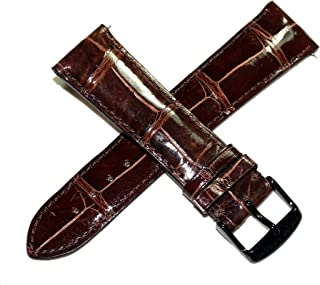 Swiss Legend 23MM Glossy Brown Genuine Alligator Leather Watch Strap, Black Stainless Buckle Fits 42mm Crusader