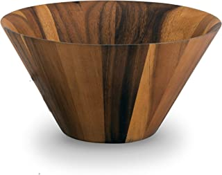 Arthur Court Acacia Wood Serving Bowl for Fruits or Salads Straight Angle Shape Style Large 12