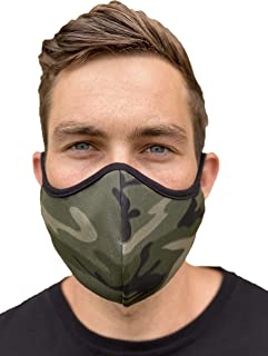 Face Mask by With Love MILA (3 Pack) 100% Made in USA Unisex Washable/Reusable Full Coverage Double Layer (ARMY- M/L)
