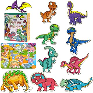 AIVANT Beginner Dinosaur Puzzles for Toddlers,10 Different Dinosaur Puzzles with a Giant Dinosaur World Map Puzzle(Total 5...