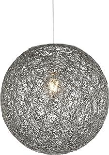 Lámpara de techo de papel trenzado en forma de bola con 1bombilla, iluminación de techo, lámpara de dormitorio (lámpara colgante, lámpara de salón, 32cm, altura 120cm, gris)