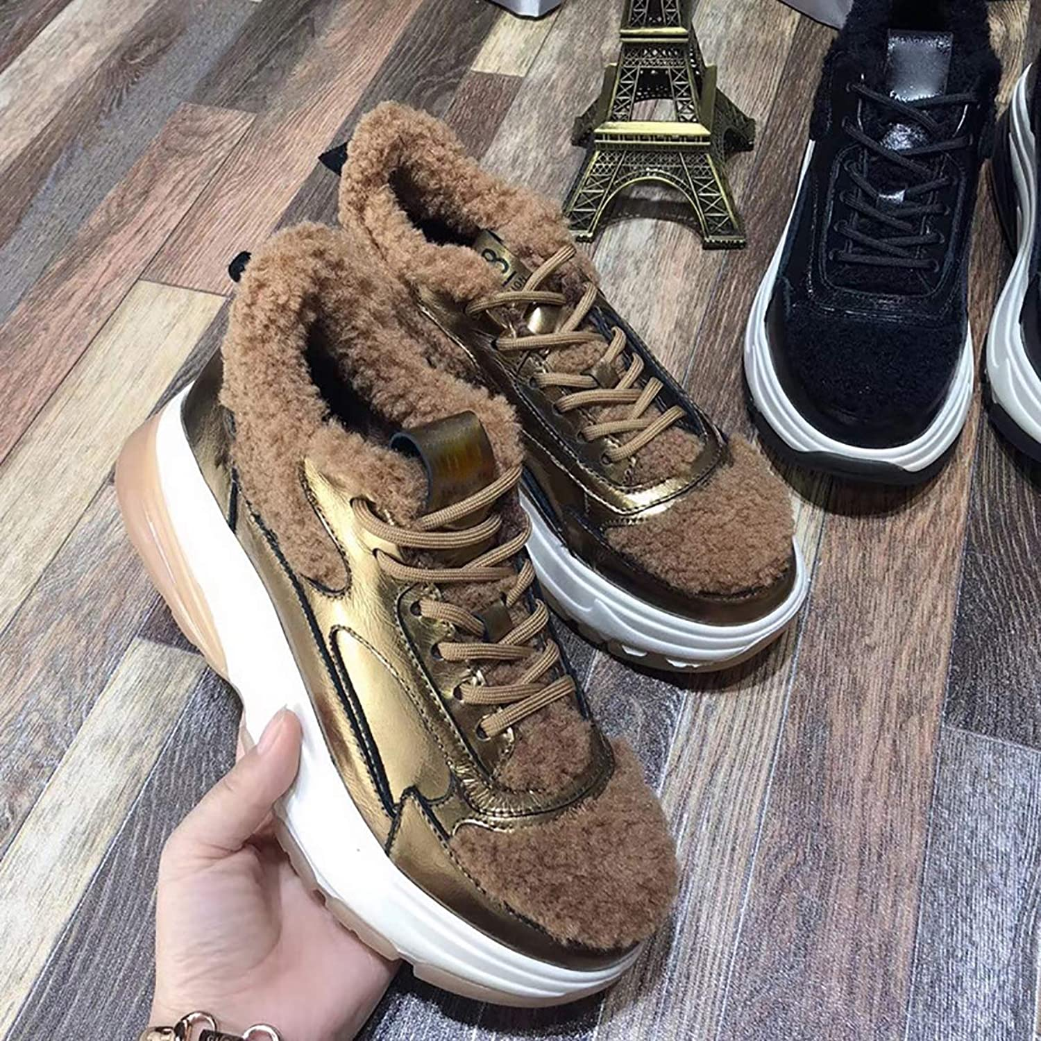 Plus Velvet Low shoes Women Winter, Leather lace Student Casual Muffin Thick-Soled Lamb Fur Sneakers,Brown,37