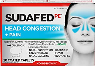 Best Sudafed PE Head Congestion + Pain Relief Caplets, Ibuprofen & Phenylephrine HCl, 20 ct Review