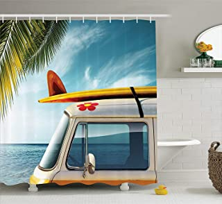 Ambesonne Surfboard Decor Collection, Vintage Van in the Beach with Surfboard on the Roof Journey Spring Sky Transportation Image, Polyester Fabric Bathroom Shower Curtain Set with Hooks, Yellow Blue