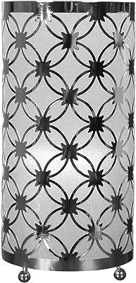 Sema 97578 Lampe Métal Chromé Motifs Fleurs, Argent
