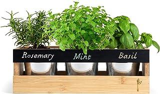 Farmhouse Kitchen Window Planter Box - Succulent, Flower & Herb Garden - Indoor & Outdoor - Includes Bamboo Wood Rectangle...
