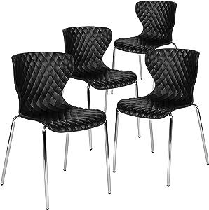 Flash Furniture 4 Pk. Lowell Contemporary Design Black Plastic Stack Chair