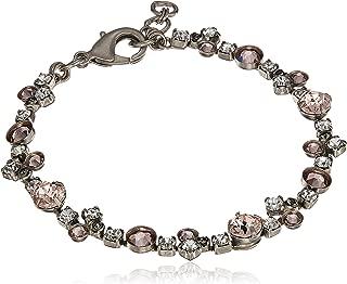 Sorrelli Womens Snow Bunny Modern Crystal Tennis Bracelet, Clear/Pink, 7.25