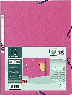 Exacompta 55520E Folder (Manila Cardboard, with Elastic Strap and 3Flaps, 400g, DIN A4Pink