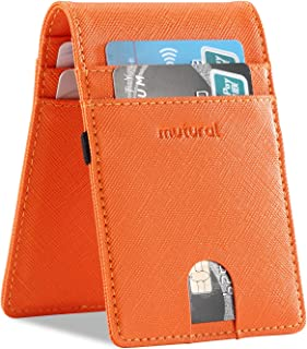 Mutural Leather Credit Card Case RFID Blocking Slim Bifold Front Pocket Wallet With ID Card Window for Men Women