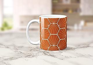 Naranja con un diseño geométrico hexagonal blanco Taza de té o café 11 oz
