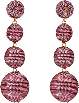 Kenneth Jay Lane - 3 Metallic Pink Thread Small To Large Wrapped Ball Post Earrings w/ Dome Top