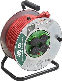 Meister Kabeltrommel H07RN-F3G1,5, IP44 - 40 m Kabel - Thermoschutz-Schalter - Outdoor / Kabelrolle mit 4 Schuko-Steckdosen / Kabelbox mit Verlängerungskabel / Leitungsroller mit Kurbel / 7435890