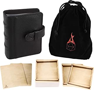 Forged Dice Co Spellbook of Incantations (Tome Edition) Spellbook Card Holder & Deck of Dry Erase Cards with Velvet Storage Bag - Storage for D&D Spell Book Monster Magic Item Cards