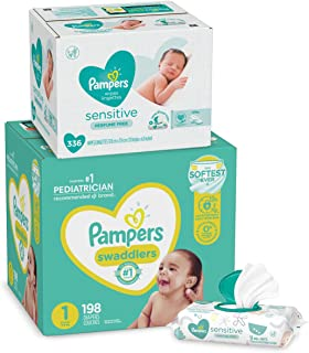 Diapers Size 1, 198 Count and Baby Wipes - Pampers Swaddlers Disposable Baby Diapers and Water Baby Wipes Sensitive Pop-Top Packs, 336 Count (Packaging May Vary)