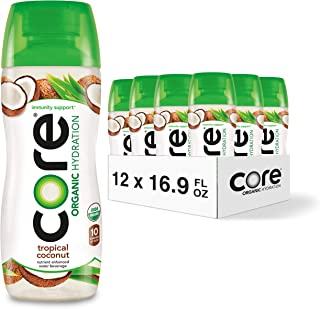 CORE Organic Hydration, Tropical Coconut, 16.9 Fl Oz (Pack of 12), Nutrient Enhanced Flavored Water with Immunity Support ...