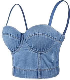 Women's Deium Bustier Crop Top Jean Corset Top Bra with Detachable Straps