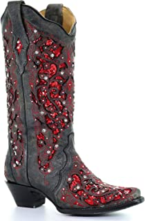 CORRAL Women's Crystal and Sequin Inlay Cowgirl Boot Snip Toe
