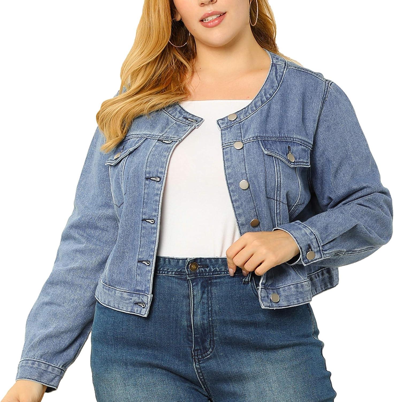 Fresno Mall Agnes 5% OFF Orinda Women's Plus Size Slee Jean Collarless Jackets Long