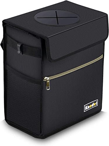 Knodel Car Trash Can with Lid, Leak-Proof Car Garbage Can with Storage Pockets, Waterproof Auto Garbage Bag Hanging f...