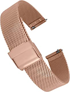 Doon Quick Release Silver/Gold/Pink/Black Stainless Steel Watch Band Fold Over Buckle, 08/10/12/14mm Strap