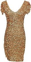 Anna-Kaci Womens Sexy Short Sleeve Sequin Bodycon Mini Cocktail Party Club Dress