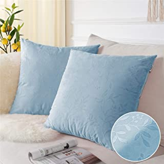 Topfinel Square Decorative Embossing Velvet Throw Pillow Covers for Couch Sofa Chair Embossed Branches and Leaves Texture Shape Cushion Cover 16 x 16 inches 40 x 40 cm, Set of 2, Blue