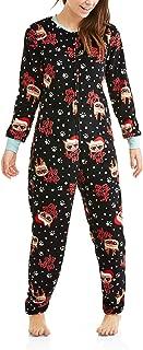 Grumpy Cat HO HO No Women's Drop Seat Union Suit Pajamas Black