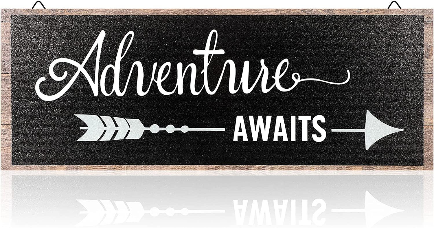 Adventure Awaits Sign Adventure Awaits Rustic Wooden Plank Sign Farmhouse Wood Decoration For Home Kid Room Child Presents, 16 x 4.8 x 0.2 Inch, Black