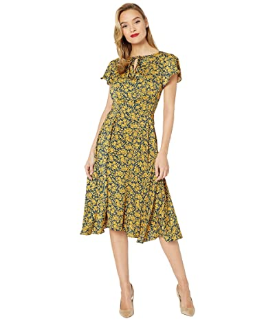 Unique Vintage Floral Formosa Swing Dress (Navy/Yellow) Women
