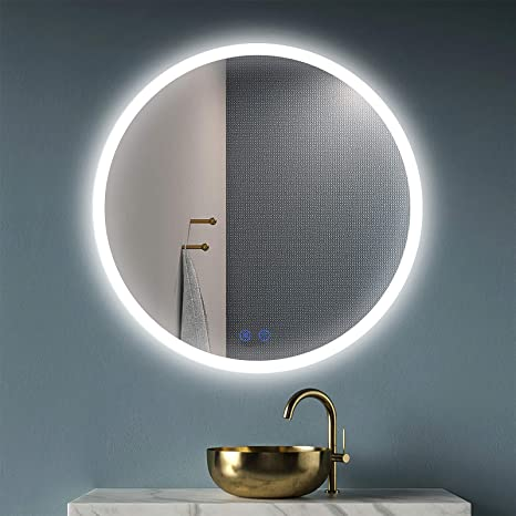 Amazon Com Okiss Led Lighted Bathroom Mirror Large Round 32 Inch Wall Mount Vanity Mirror Frameless Backlit Mirror Smart Lighted Mirror With Touch Dimmer Switch Anti Fog 3 Color Tones Home Kitchen