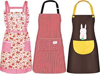 SATINIOR 3 Pieces Women Apron with Pockets Cute Vintage Cooking Apron Kitchen Housework Aprons for Christmas Thanksgiving Gift (Color Set 2, Size Set 2)