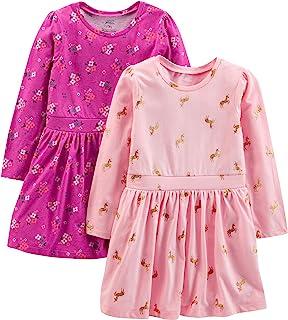 Simple Joys by Carter's 2-Pack Long-Sleeve Dress Set Bimba 0-24, Pacco da 2