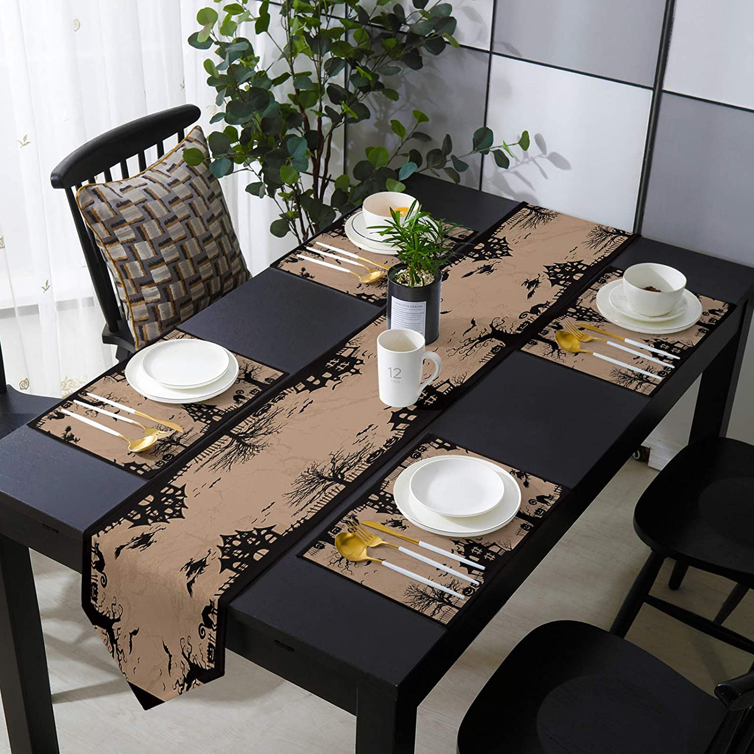 Placemats Luxury with Table Runner Set Count Halloween for Dining Many popular brands