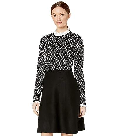 CeCe Long Sleeve Jacquard Sweater Dress with Ruffle (Rich Black) Women