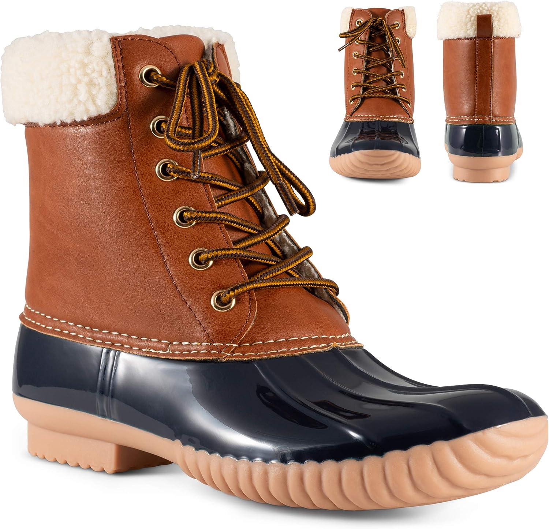 Twisted Shoes Becca Womens Rain Boots, Waterproof Wide Calf Two Tone, Lace Up Fleece Trim Duck Boot Footwear